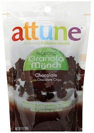 granola munch probiotic, chocolate, with chocolate chips Attune Nutrition info