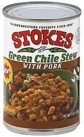 green chili stew green chile stew, with pork, medium Stokes Nutrition info