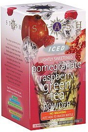 green tea powder iced, pomegranate raspberry, lightly sweetened Stash Nutrition info