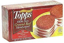 ground beef hamburgers, 100% pure Topps Nutrition info