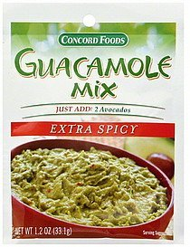 guacamole mix extra spicy Concord Foods Nutrition info