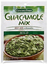 guacamole mix mild Concord Foods Nutrition info