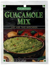 guacamole mix Concord Foods Nutrition info