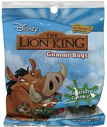 gummi bugs the lion king, squishy centers Disney Nutrition info