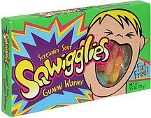 gummi worms screamin sour Sqwigglies Nutrition info