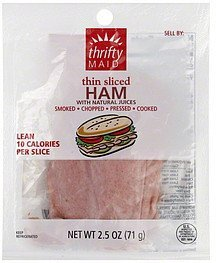ham thin sliced Thrifty Maid Nutrition info