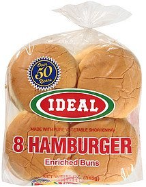 hamburger buns enriched Ideal Nutrition info