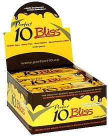 healthy energy bars bliss, lemon chocolate Perfect 10 Nutrition info