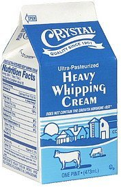 heavy whipping cream Crystal Nutrition info