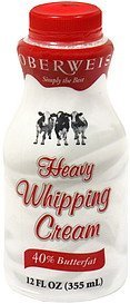 heavy whipping cream Oberweis Nutrition info