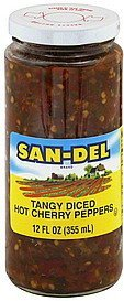 hot cherry peppers tangy, diced San-Del Nutrition info