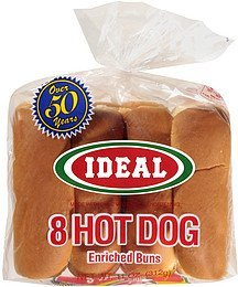 hot dog buns enriched Ideal Nutrition info