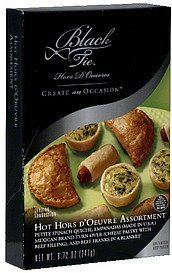 hot hors d'oeuvre assortment Black Tie Nutrition info