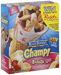 ice cream cones banana split Blue Bunny Nutrition info