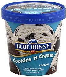 ice cream cookies 'n cream Blue Bunny Nutrition info