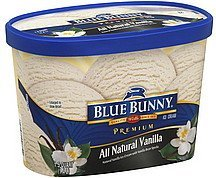 ice cream premium, all natural vanilla Blue Bunny Nutrition info