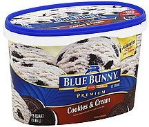 ice cream premium, cookies & cream Blue Bunny Nutrition info