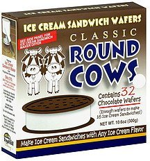ice cream sandwich wafers classic, chocolate Round Cows Nutrition info