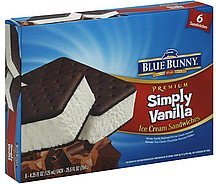 ice cream sandwiches simply vanilla Blue Bunny Nutrition info
