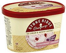ice cream & sherbet nonfat, strawberry lemonade Stone Ridge Creamery Nutrition info