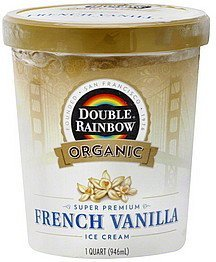 ice cream super premium, french vanilla Double Rainbow Nutrition info