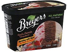 ice cream vanilla, chocolate, strawberry Breyers Nutrition info