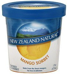 ice sherbet flavored, mango sorbet New Zealand Natural Nutrition info