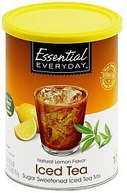 iced tea mix sugar sweetened, natural lemon flavor Essential Everyday Nutrition info