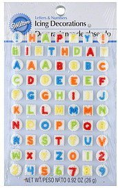 icing decorations letters & numbers Wilton Nutrition info