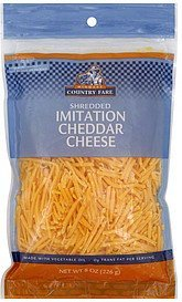 imitation shredded cheese cheddar Midwest Country Fare Nutrition info