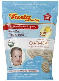 infant cereal organic, whole grain oatmeal Tastybaby Nutrition info