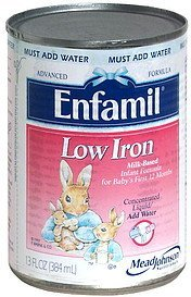 infant formula milk-based with low iron, concentrated liquid Enfamil Nutrition info