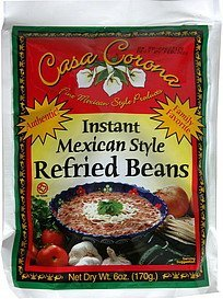 instant mexican style refried beans Casa Corona Nutrition info