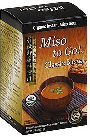 instant miso soup classic blend, organic Miso To Go Nutrition info