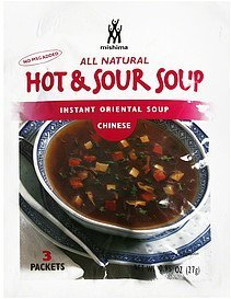 instant oriental soup chinese, hot & sour Mishima Nutrition info