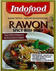 instant seasoning mix rawon, spicy beef soup Indofood Nutrition info