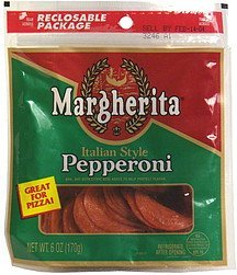 italian style pepperoni pizza size Margherita Nutrition info