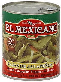 jalapenos peppers in brine, sliced El Mexicano Nutrition info