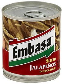 jalapenos sliced, in escabeche Embasa Nutrition info