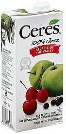 juice apple, berry & cherry Ceres Nutrition info