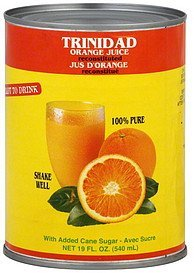 juice orange, reconstituted Trinidad Nutrition info