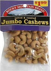 jumbo cashews salted & roasted, pre-priced Rocky Mountain Brand Nutrition info