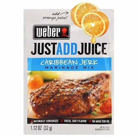 just add juice marinade mix caribbean jerk Weber Nutrition info