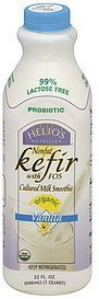 kefir nonfat, with fos, organic, vanilla Helios Nutrition info