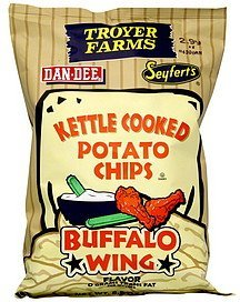 kettle cooked potato chips buffalo wing flavor Troyer Farms Nutrition info