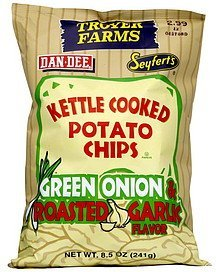 kettle cooked potato chips green onion & roasted garlic flavor Troyer Farms Nutrition info
