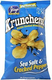 kettle cooked potato chips sea salt & cracked pepper Krunchers! Nutrition info
