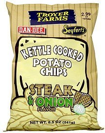 kettle cooked potato chips steak & onion flavor Troyer Farms Nutrition info