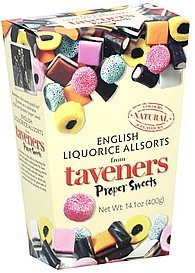 licorice english, allsorts Taveners Nutrition info