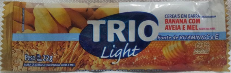 light banana com aveia e mel Trio Nutrition info